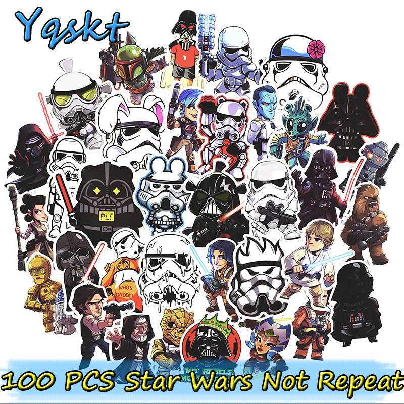 Hot 100 pcs star wars stickers for laptop skateboard motorcycle home decor car styling vinyl decals doodle cool diy sticker in stickers from toys hobbies