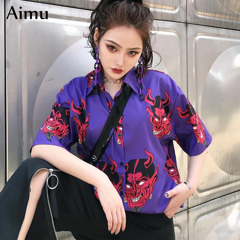 Harajuku   Shirt   blusas Female ulzzang Short sleeve women   blouse   summer new loose gothic Devil printing   blouses   Korean womens tops