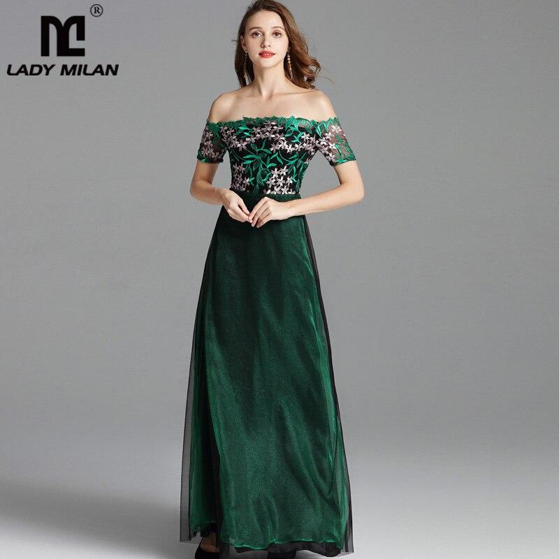 Dame Milan femmes Piste Robes Slash Décolleté Hors de L'épaule Fête Bal Broderie Patchwork Sexy Longue Designer Robes