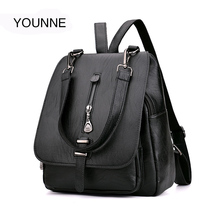 c5357911096 YOUNNE Women Leather Backpack Female Zipper Fashion Style Backpacks Young  Girl Casual Shoulder Bag Lidy Softback