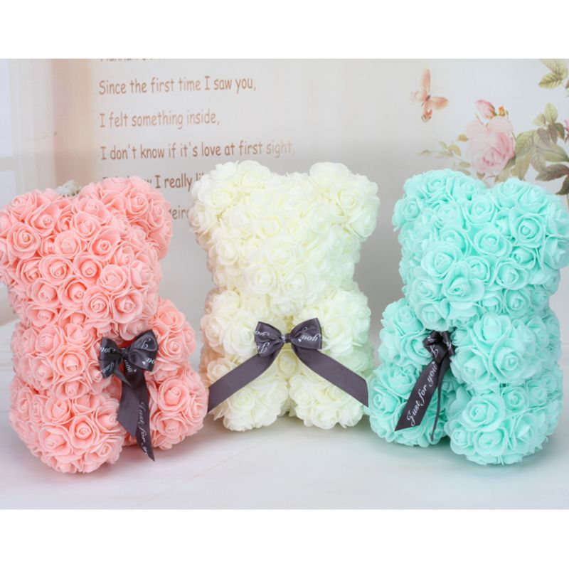 Wedding Flower Bear Decoration Handmade Flowers Cute Fashion Artificial Ornaments Doll Valentines Wedding Flower Basket