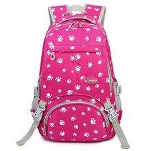 Большой Ёмкость Школьные сумки для подростков Обувь для девочек портфель Для женщин Колледж студент дорожная сумка лапу печати рюкзак Mochilas