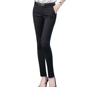 Image 4 - Kadın kalem pantolon 2019 sonbahar yüksek bel bayanlar ofis pantolon rahat kadın ince Bodycon pantolon elastik Pantalones Mujer