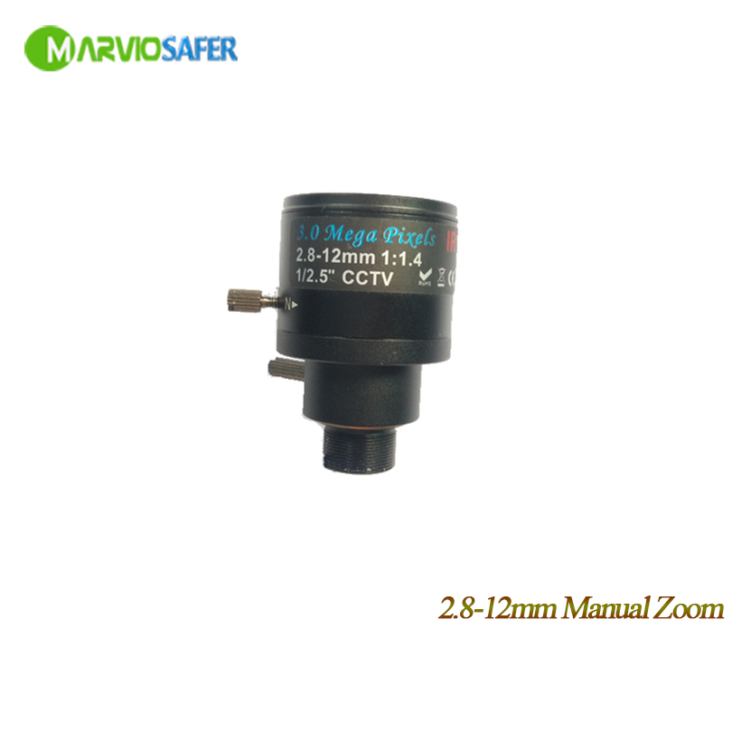 Marviosafer 3MP HD 2.8-12mm Manual Zoom Focal Lens M12 Interface for All kinds of CCTV Cameras hd 2mp 9mm 22mm zoom manual focal cs lens for hd ip sdi ahd cameras