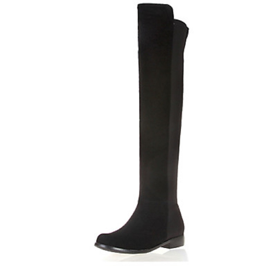 fc15ec81cf11d BC Women Winter Warm Footwear Black Round Toe Flat Heels Knee High Boots  Girls Shoes, Plus Size 5-14, Winter Boots Shoes Woman