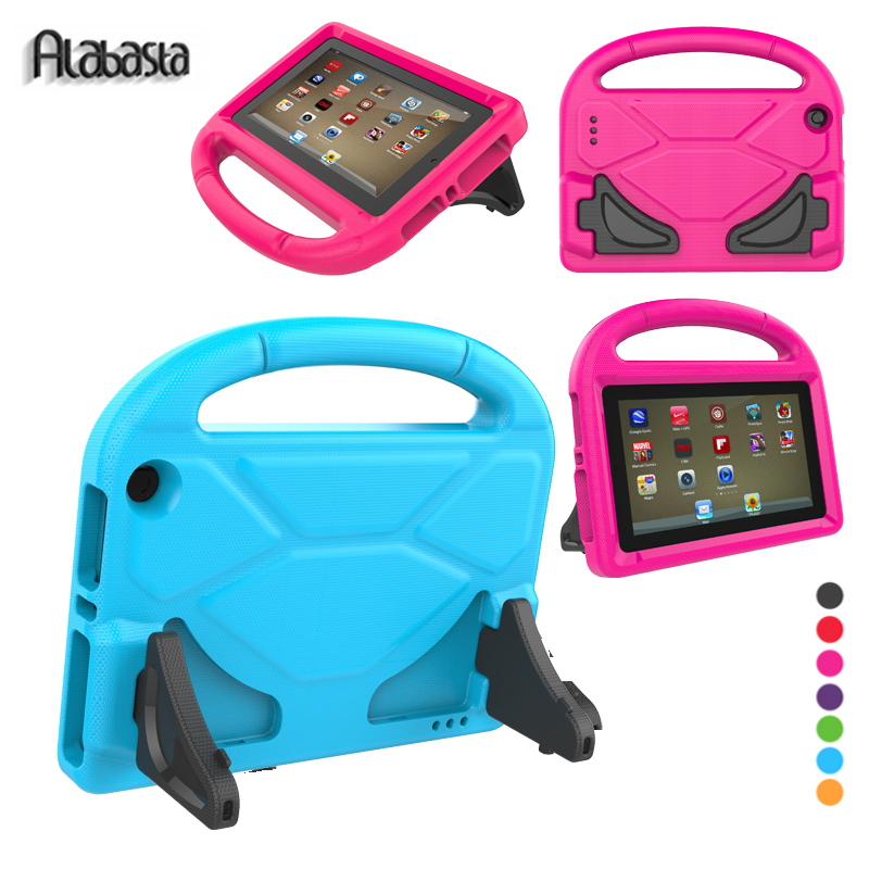 Alabasta Children kids Safe Football Stand Case For Amazon Fire HD 8 2016 2017 Genearl EVA Hand Strap Proof Save Soft Shell pen for amazon 2017 new kindle fire hd 8 armor shockproof hybrid heavy duty protective stand cover case for kindle fire hd8 2017