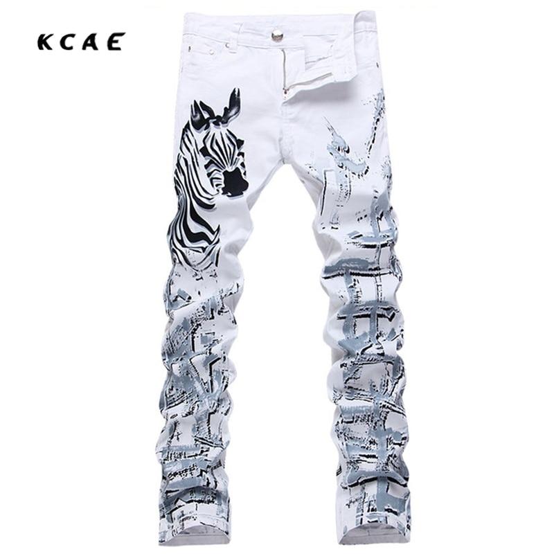 7d4ac22de49c0 Nouveau Blanc de Jeans Hommes 100% Coton Zèbre Motif Marque Designer  Imprimé Jeans Hommes Slim Fit Denim Pantalon