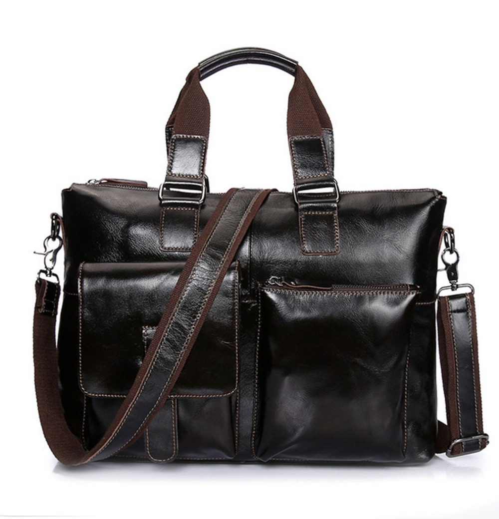 Men Vintage Oil wax Genuine Leather Cowhide High Quality Handbag Briefcase Business Messenger Shoulder Bag handbags New men vintage genuine leather cowhide high quality tote handbag briefcase business messenger shoulder bag handbags new