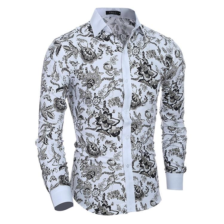 Mens Shirts Casual Long Sleeve Shirts Hawaiian Floral Printed Slim Button Down Shirts