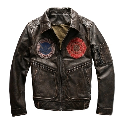 2014 Avirexfly  Multi-Logo Retro  First Layer Of Leather Lapel Short Paragraph Men's Leather Jackets Air Force Flight Suit