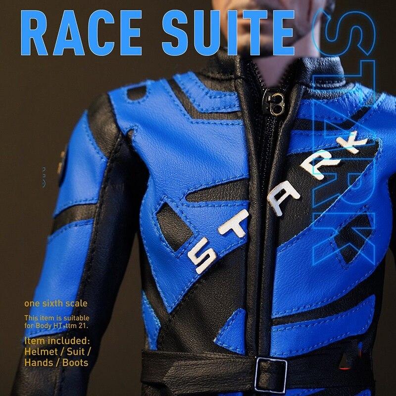 1/6 Escala Azul DJ-Guerra Homem De Ferro Tony 2 012 Danos Cabeça Escultura sem Capacete de Corrida capacete 12