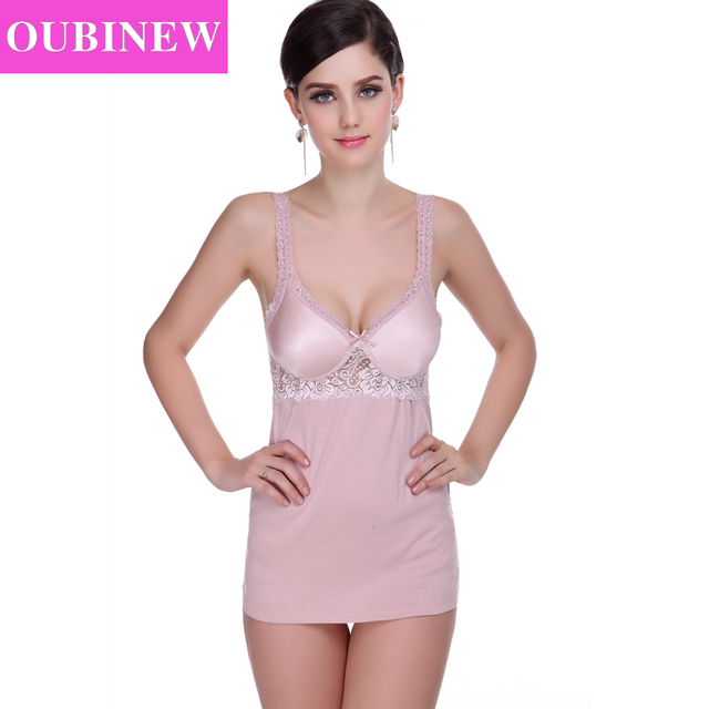 890db324b6acc OUBINEW New Sexy V Neck Lace Camisole Women Adjustable Strap Built In  Padded Bra Casual Seamless sling Women Tops 2017 Summer