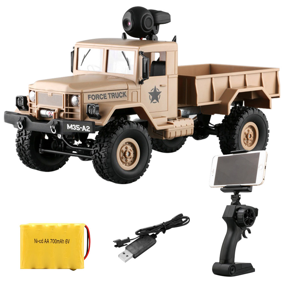 FY001A 1/16 WiFi 0.3MP Brushed Military Truck 2.4G 4WD Off-Road Car RTR With Front Light Radio Control And APP Control RC Cars remo 1631 rc truck 1 16 2 4g 4wd brushed off road monster truck smax rc remote control cars with transmitter rtr electric car