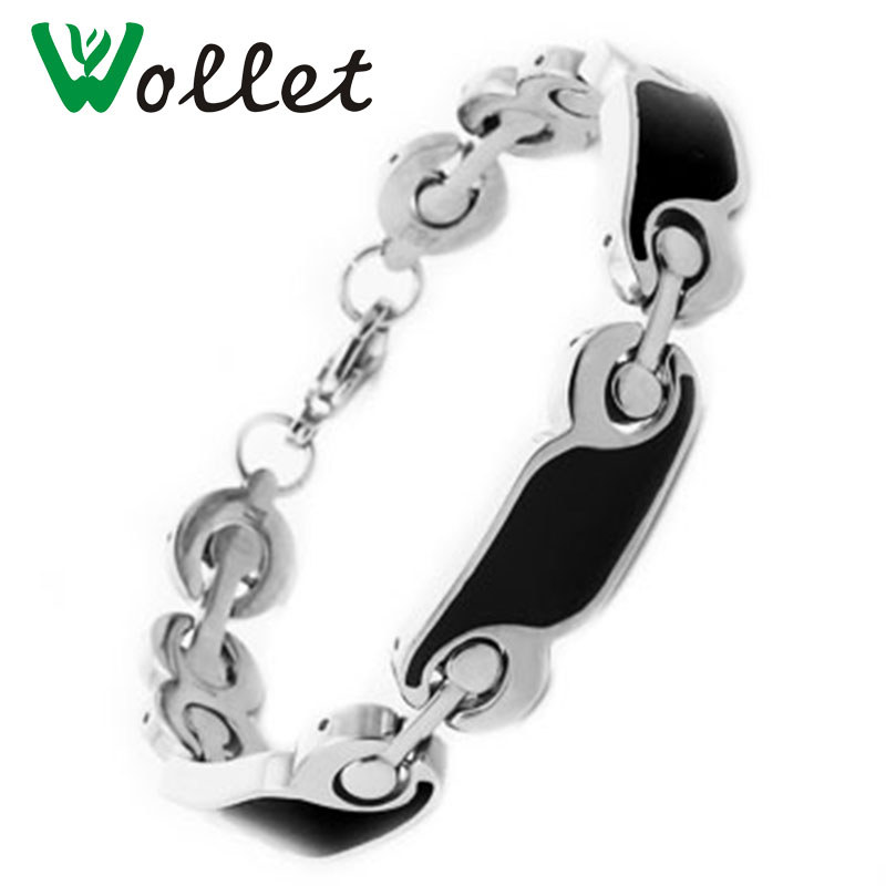 Wollet Fashion Jewelry Healing Energy Magnet Black Color Magnetic Pure Titanium Bracelet Bangle for Men in Chain Link Bracelets from Jewelry Accessories