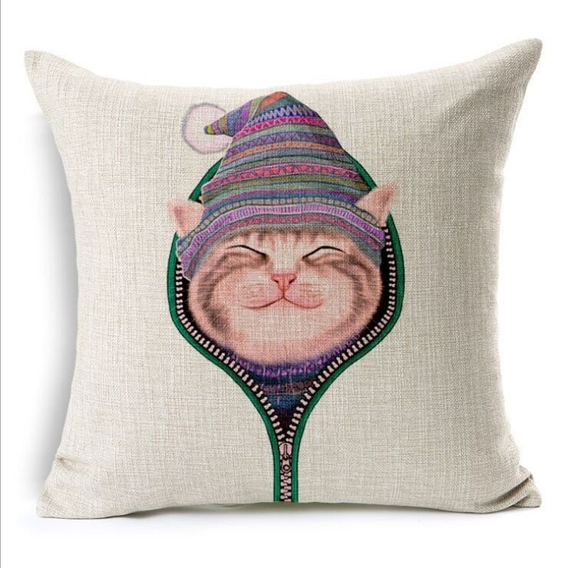 Naughty Cat Square Throw Pillow Case Cushion Cover 45x45cm(18x18IN) Cute Cartoon Pillow Cover Home Decor