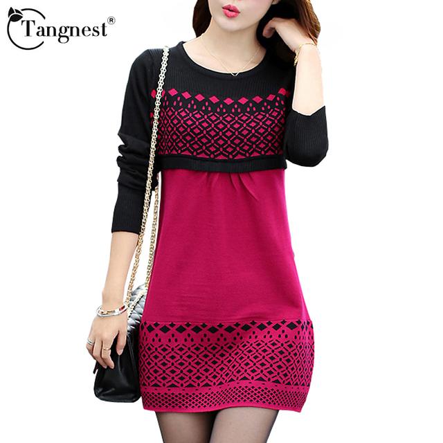 Tangnest mulheres sweater dress inverno morno do pulôver causal magro patchwork império o pescoço luva cheia de malha vestidos wql3203