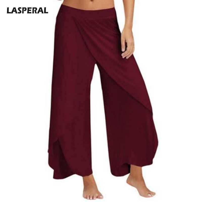 LASPERAL 2018 New Causal Women   Wide     Leg     Pants   Fashion Irregular Side Split Ladies   Pants   Solid Brand Loose Female Long Trousers