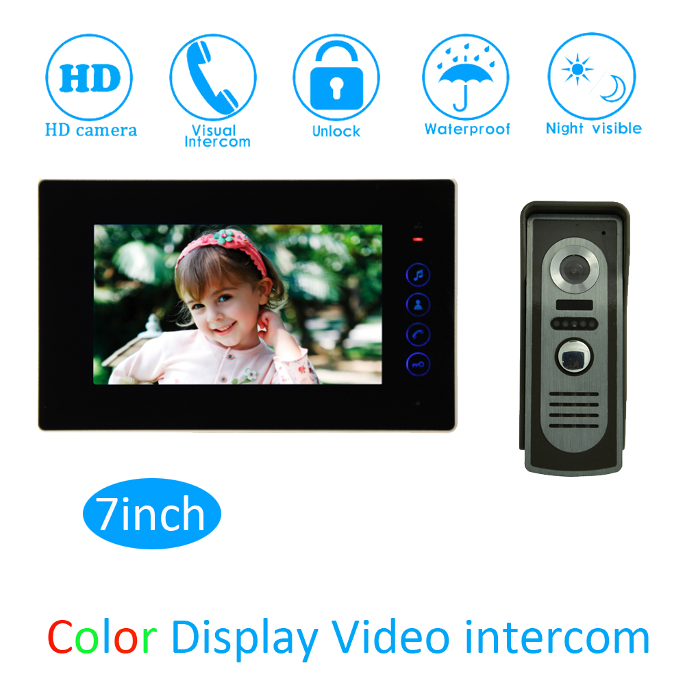 (1 Set) Aluminium Alloy Monitor Door Access Intercom System HD Camera 7