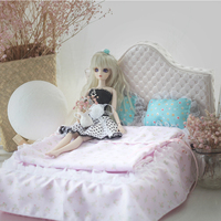 1/6 Dollhouse Furniture toy for dolls pink soft bed model 30cm bjd doll Miniature simulation bed pretend play toys girls gifts