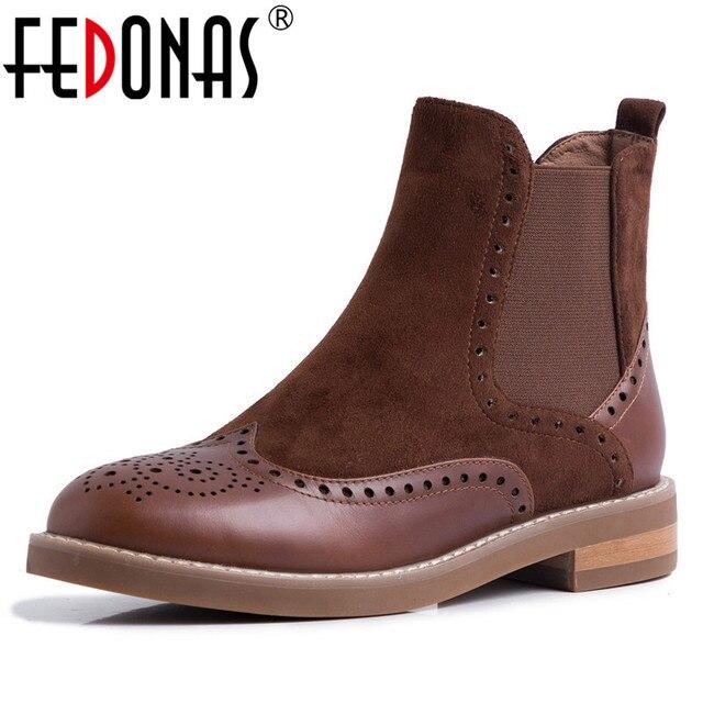 Bas prix Hiver Véritable FEDONAS Femme Chaussures En Cuir vbIf6Y7gy