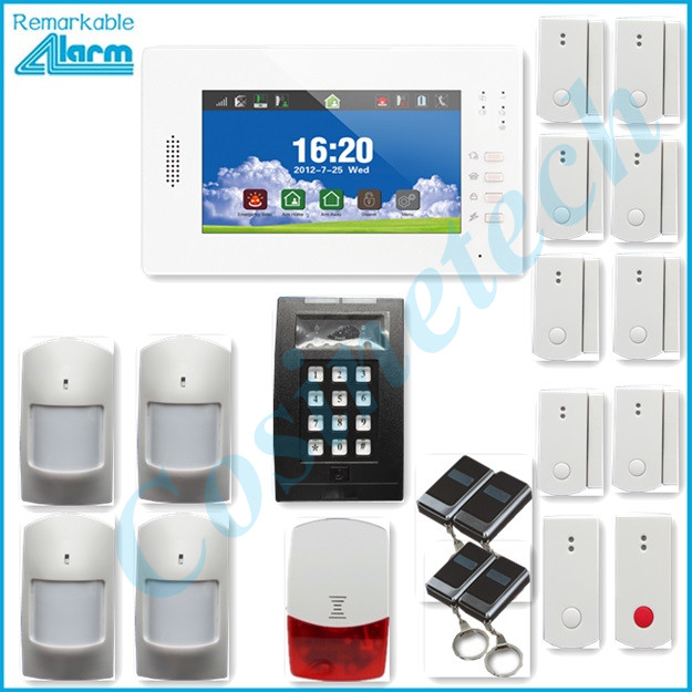 home security 7 inch touch screen GSM alarm system support smart  IOS Android APP, alarm panel with long life  Li-ion battery support smart ios android apps home security gsm alarm system remote control by sms auto calling multi language alarm system