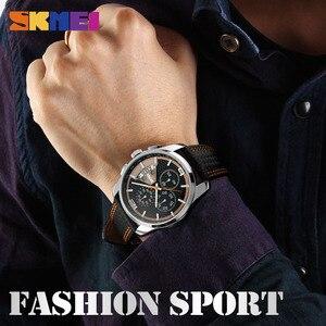 Image 5 - SKMEI hommes montre à Quartz montres de mode bracelet en cuir 3Bar étanche marque de luxe montres horloge Relogio Masculino 9106