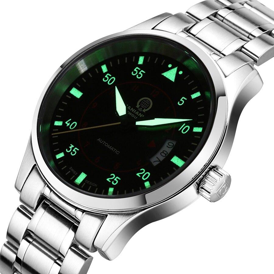 Saatler'ten Mekanik Saatler'de Erkek saatler Top marka lüks otomatik mekanik İzle erkekler karnaval deri çelik kayış kol saati erkek saat reloj hombre'da  Grup 1