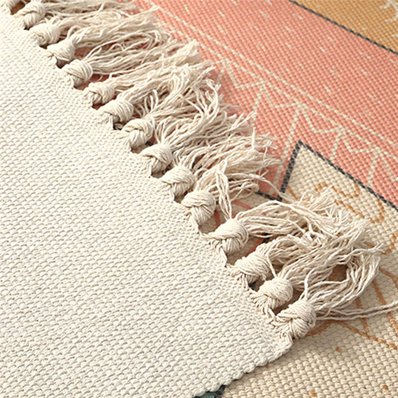 Tapis de chevet en coton tissé tapis salle de bain salon tapis géométrique fait main indien tapis bohème moderne impression tapis - 5