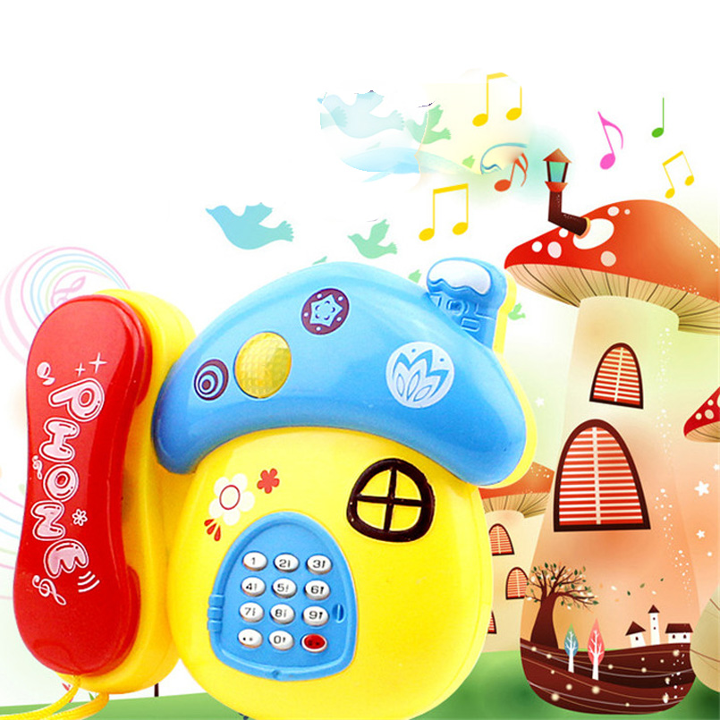 Electronic Baby Toy Sound Light Cartoon Mushroom Telephone Early Education Creative Developing Intelligence Musical Phone Toys
