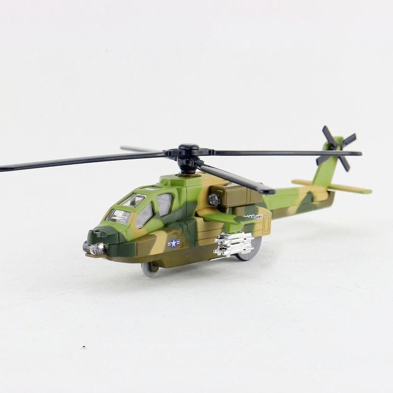 Children Diyaduo Boeing AH-64 Apache Helicopter Gunships diecast Metal Toy Sound & Flashing & Pull Back Present Kids Gift