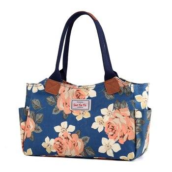 d36cc2415 Bolsos mujer de marca famosa 2019 pintado de flores las mujeres Casual  Bolsos Oxford gran bolso de mano nueva dama bolsa de hombro bolsa