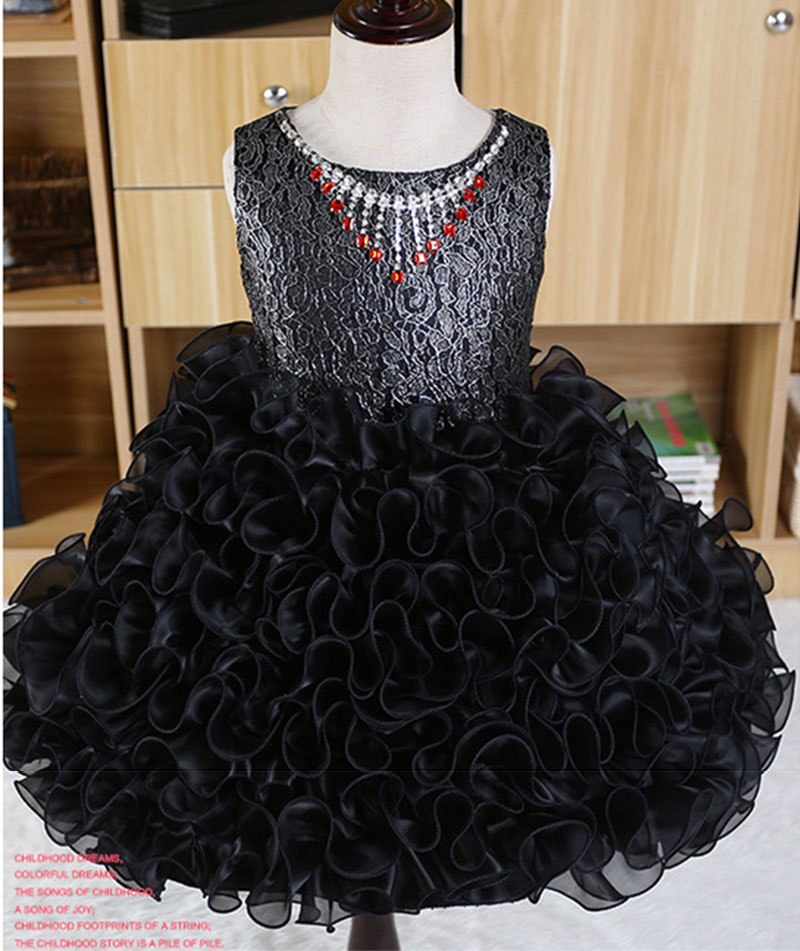 Tassel Necklace Embellished Girls Birthday Cute Princesd Dress Tulle Ball Gown Black Blue Pink Beige Party Dresses Kids цена 2017