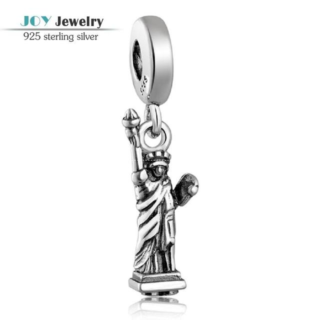 Nueva llegada 925 estatua de plata de libertad cuelga los colgantes del encanto adapta a las pulseras europeas de joyería de plata antiguos LW085
