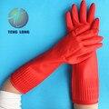 El nuevo 40 cm extensión espesantes a prueba de ácidos alcalinos guantes de látex hogar de girasol aceite de guantes de protección