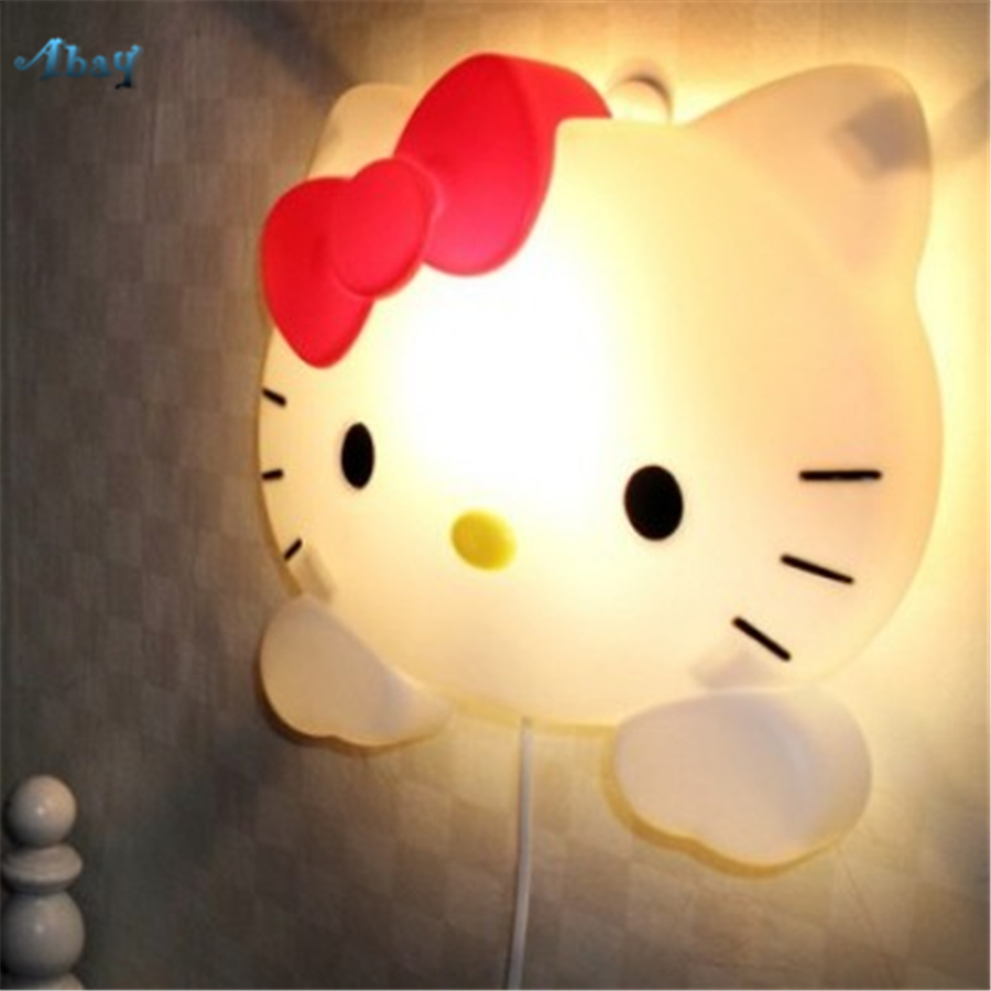 Baby Night Light Hello Kitty Bedroom Bedside cartoon cat led Night Lamp Princess House Study Wall Decoration Kids Birthday Gift