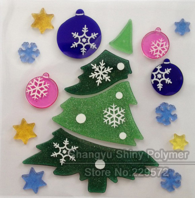 Retail christmas trees jelly gel window sticker for home decorations 19 4x19 4cm