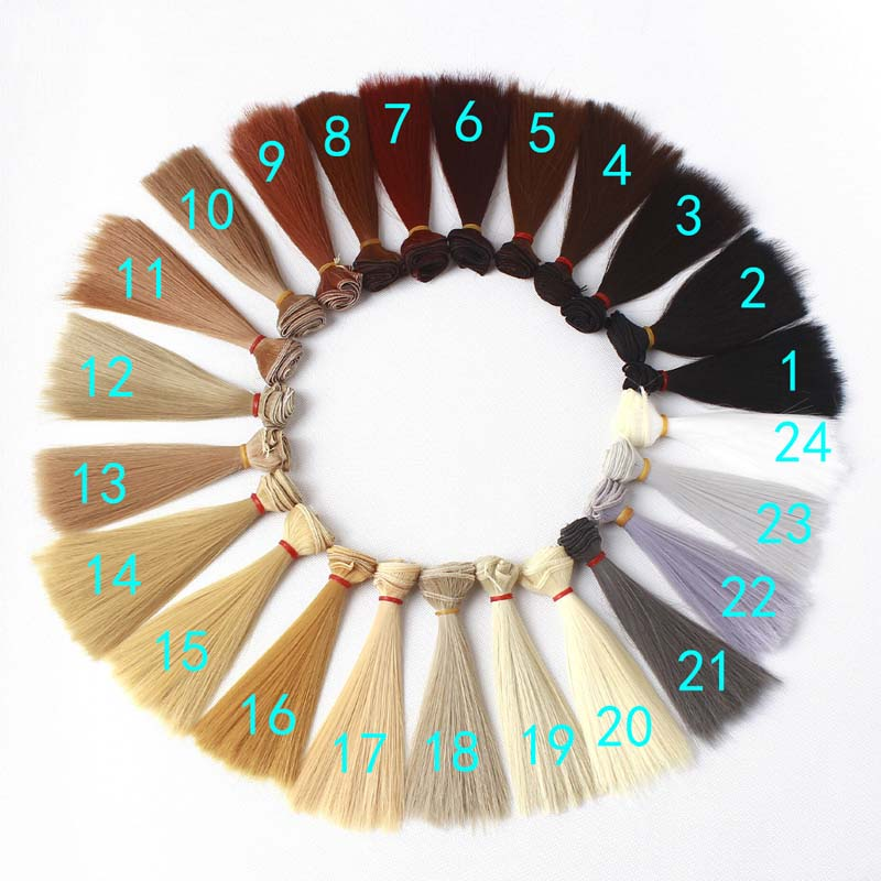 5PCS LOT Hot Sale DIY BJD Hair Wig Accessories 15CM Synthetic Fiber Straight Hair For Doll in Dolls Accessories from Toys Hobbies