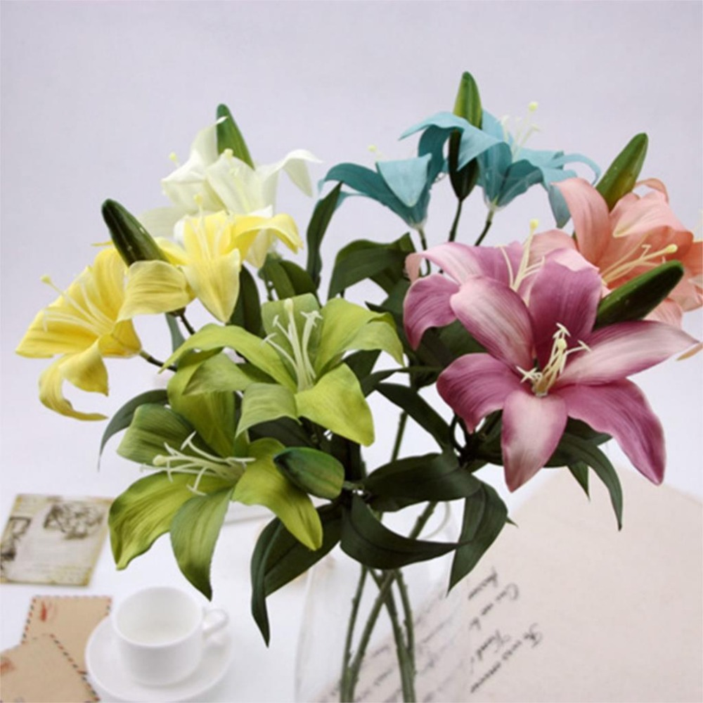 2 Head Vintage Simulation Silk Flowers Lily Artificial Flowers Home