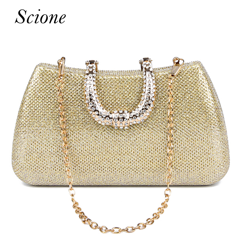 2017 New Crystal U Diamond clasp Clutch bags Glitter Silver Evening bags Gold Day clutch party purse Woman Wedding Handbag Li219