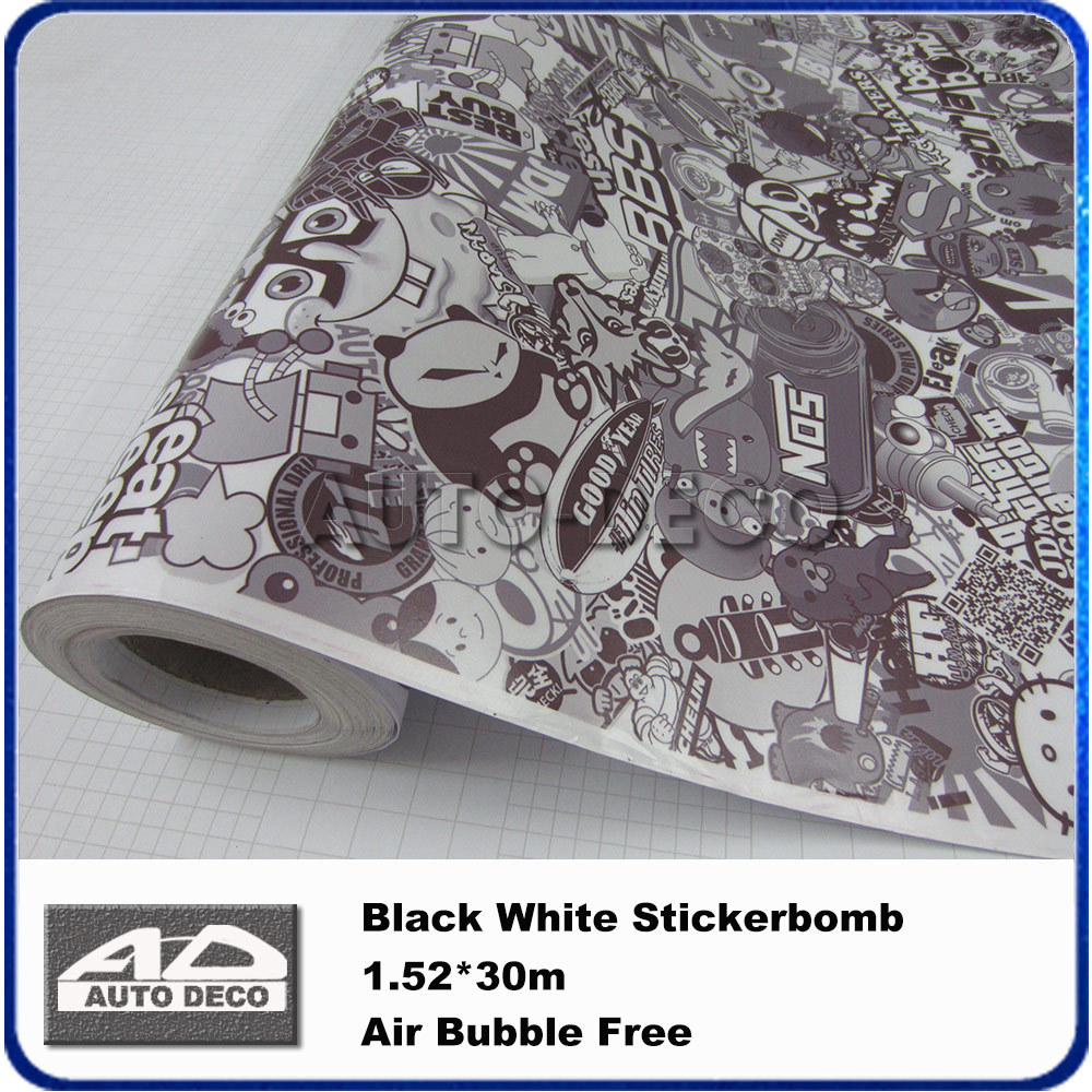 COOL Black White Sticker Bomb Sheet Car Color Change Vinyl Scrawl Stickerbomb JDM Wrap Graffiti Vinyl Decal Graphics стоимость