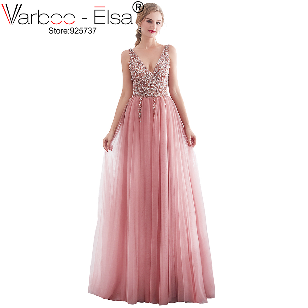 VARBOO ELSA Deep V neck pink Sexy Sleeveless Tulle A Line Long Prom Dresses 2019 Lace