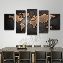 5 Panel Modern Abstract World Map Oil Painting Picture Canvas Wall Art Cuadros Decoracion For Living Room  Unframed BR0061