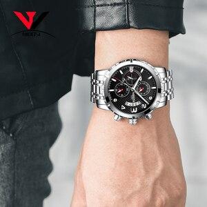 Image 5 - Nibosi relógio de pulso masculino, relógio de marca de luxo top para homens, esporte militar, à prova d água, aço inoxidável, cronógrafo, 2018