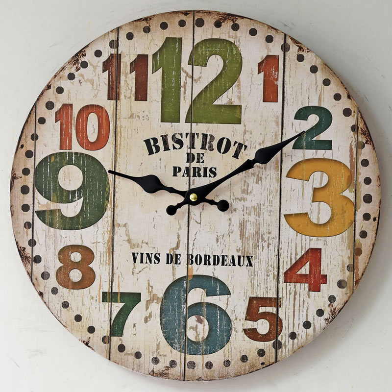 12inch Home Decor Europe Style Number Wooden Wall Clock Vintage Mute Wood Kitchen