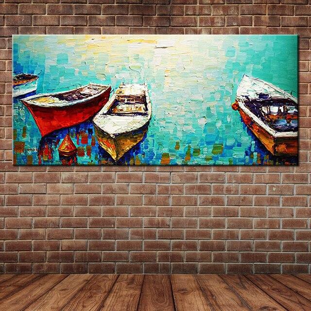 textur couteau peint peinture l 39 huile de p che bateau. Black Bedroom Furniture Sets. Home Design Ideas