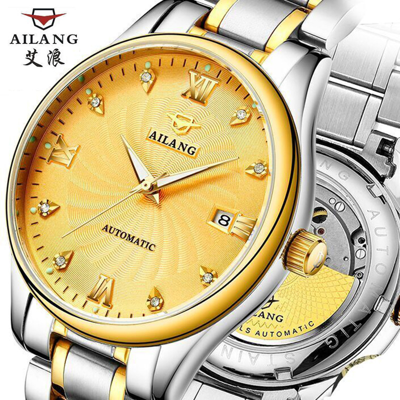 Fashion Wave Dial Design Multi Function Display Men Automatic Watch Top Brand Luxury Mechanical Wristwatch fashion fngeen brand simple gridding texture dial automatic mechanical men business wrist watch calender display clock 6608g