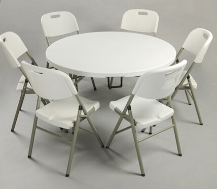 HDPE plastic folding dining table round for hotels restaurant home and outdoor 122Dx74H cm