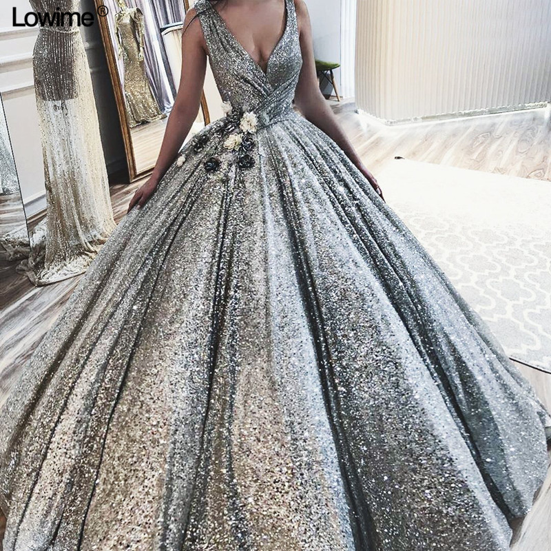 New Luxury Silver Bling Evening Dresses A Line Sexy Deep V Neck Sleeveless Evening Prom Party