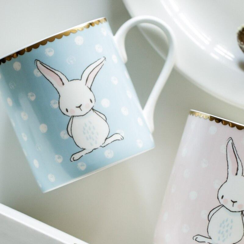 <font><b>coffee</b></font> mug <font><b>ceramic</b></font> tea <font><b>cup</b></font> with handgrip <font><b>rabbit</b></font> cartoon printed European style <font><b>couple</b></font> 2 pcs one set with gift box <font><b>cups</b></font> and mugs