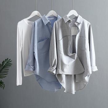 2021 wiosna kobiety letnia bluzka koreański z długimi rękawami damskie topy i bluzki w stylu Vintage kobiety koszule Blusas Roupa Feminina topy tanie i dobre opinie sherhure CN (pochodzenie) COTTON REGULAR NONE Wiosna 2021 średniej wielkości Sukno Na wiosnę jesień SLIM 5718 z włókien syntetycznych